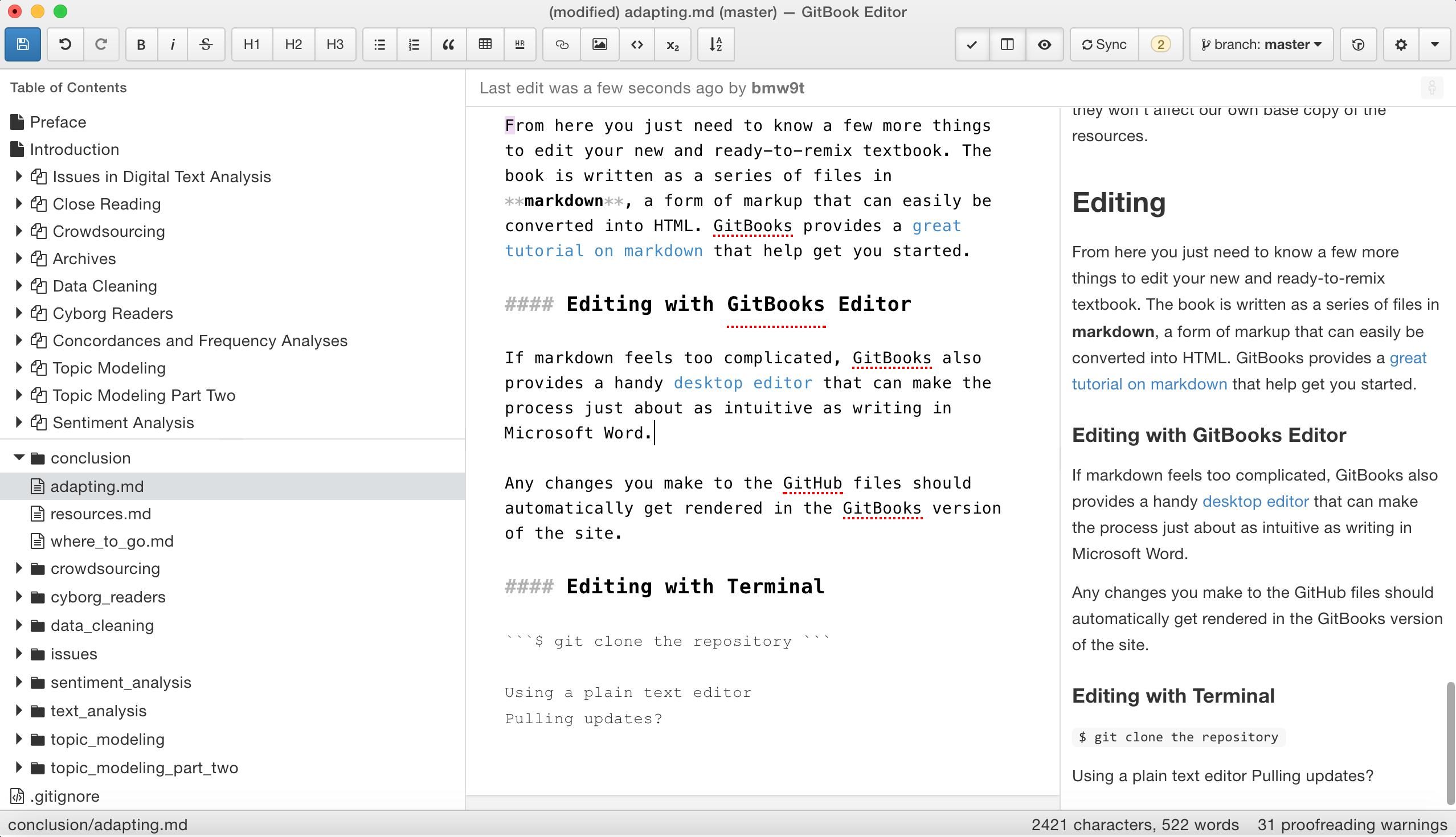 gitbooks editor interface